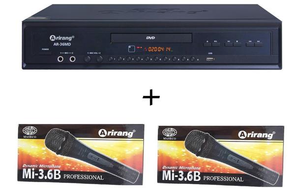 Đầu karaoke Arirang DVD AR-36MD (kèm 2 mic)
